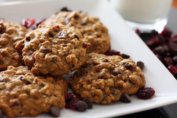 Recette de biscuits à l'avoine, chocolat et canneberges