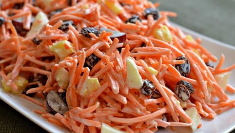 Salade de carottes allégée et raisins secs