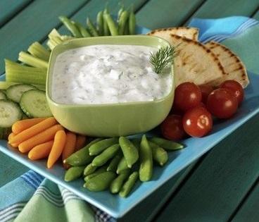 Recette minceur de crudités et trempette au yaourt