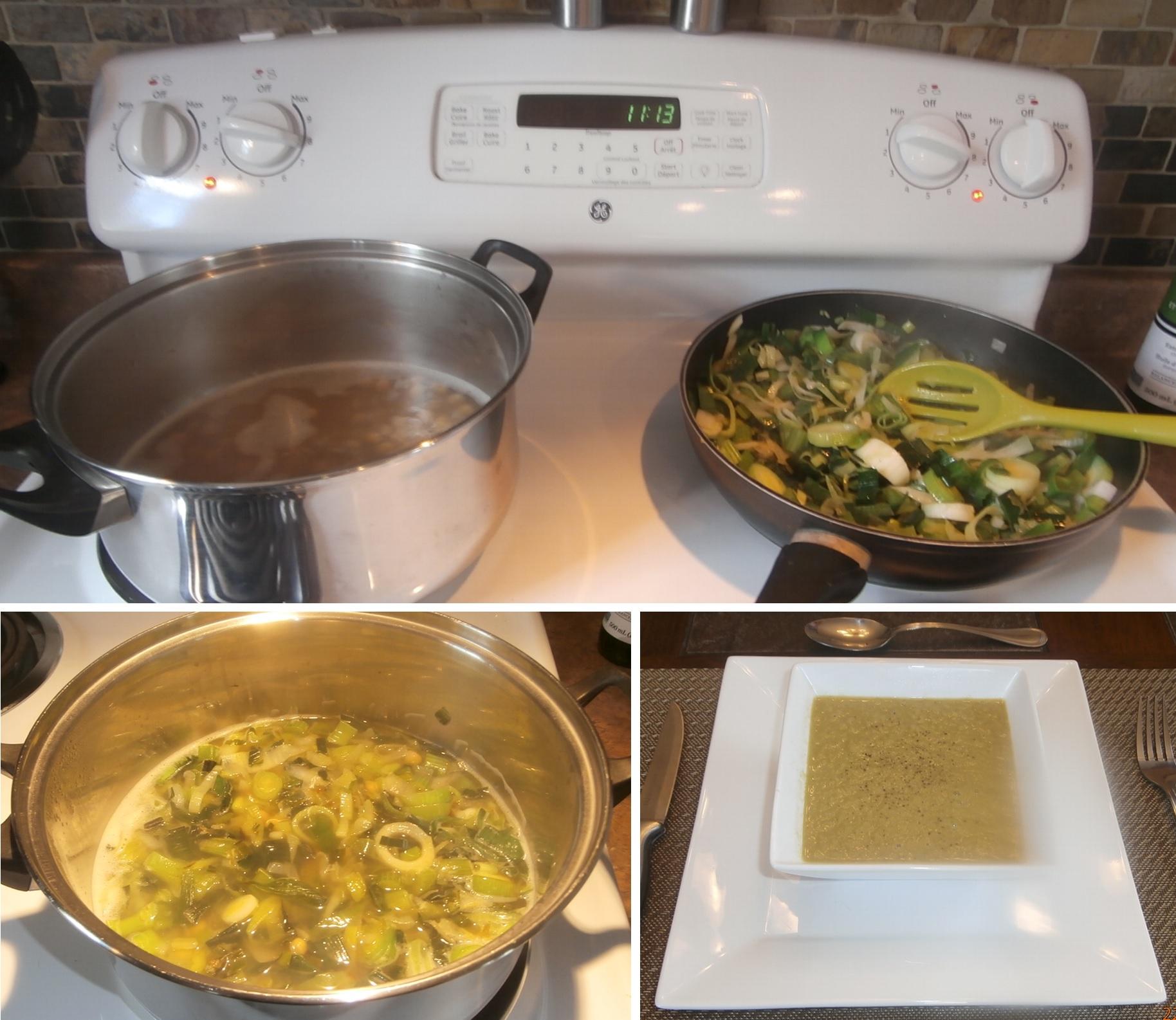 Potage protéiné aux poireaux et légumes frais
