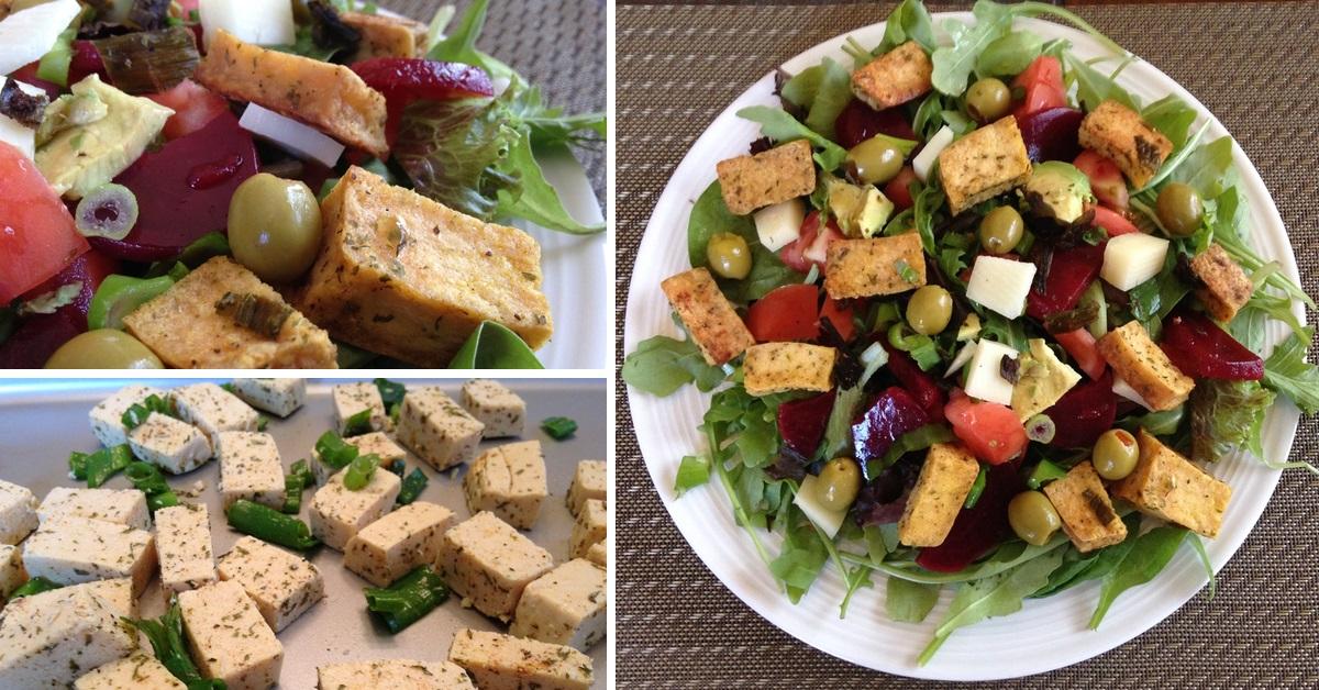 Salade de « touski » aux légumes et cubes de tofu