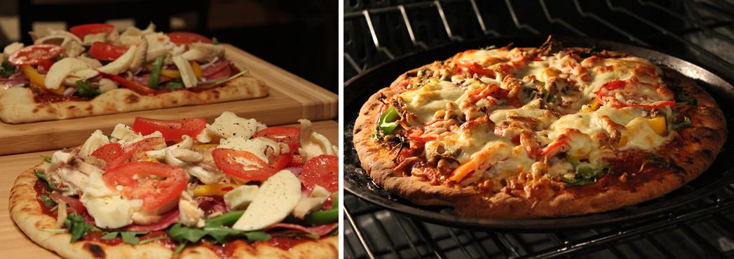 Pizza au proscuitto et mozzarella fraîche